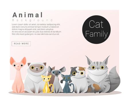 猫, ベクトル, イラスト、かわいい動物の家族の背景 写真素材 - 60189155
