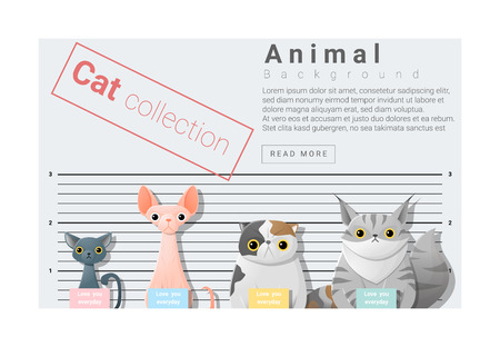 arrested: Cute animal family background with Cats, vector , illustration Illustration