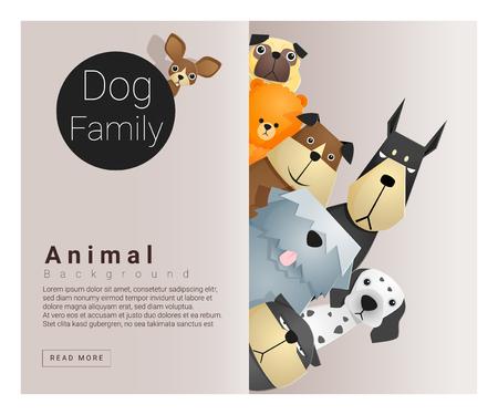 개, 벡터, 그림 귀여운 동물 가족 배경