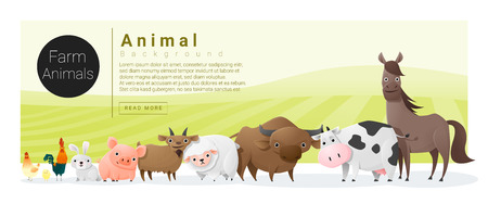 horse cock: Cute animal family background with farm animals , vector , illustration