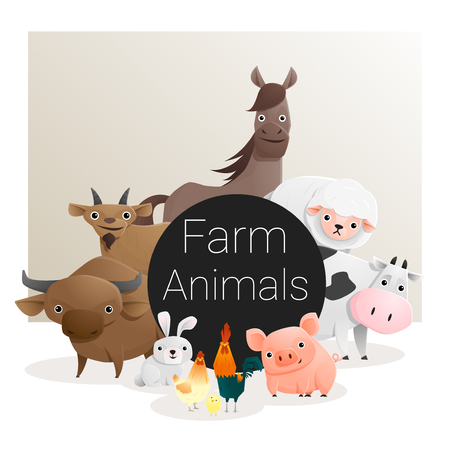 foal: Cute animal family background with farm animals , vector , illustration