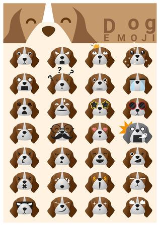 perro asustado: iconos emoji perro, vector, ilustraci�n Vectores