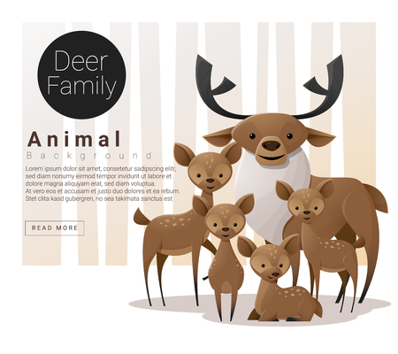 Cute animal family background with Deer illustration