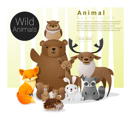 Cute animal family background with Wild animals  illustration