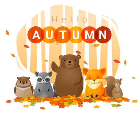 Hello autumn background with wild animals , vector , illustration