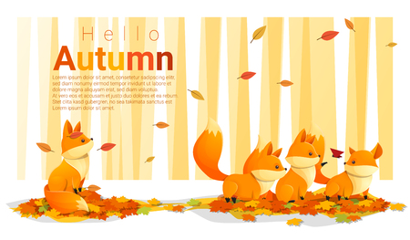 Hello autumn background with foxes , vector , illustration