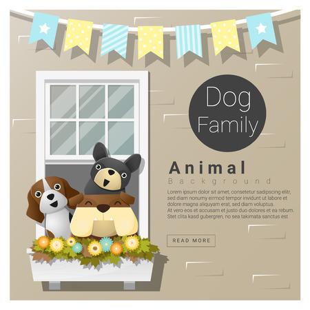 Schattige dieren familie achtergrond met honden, vector, illustratie