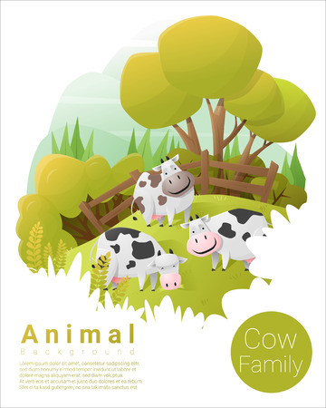 funny ox: Cute animal family background with Cows , vector , illustration