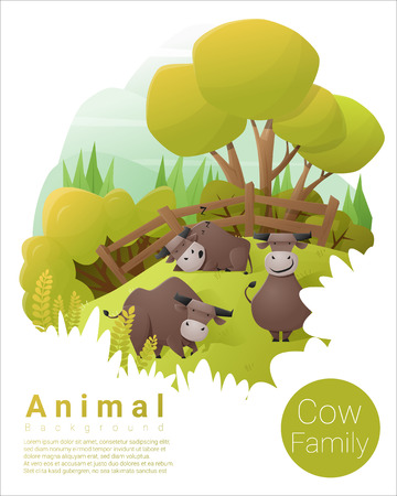 Cute animal family background with Cows , vector , illustration