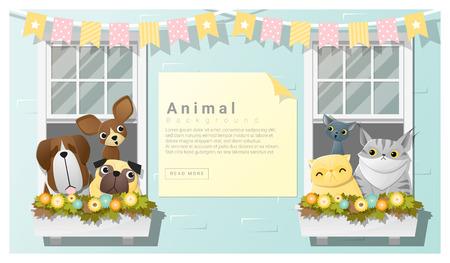 perro familia: antecedentes familiares animal lindo con perros y gatos, vector, Ilustración Vectores