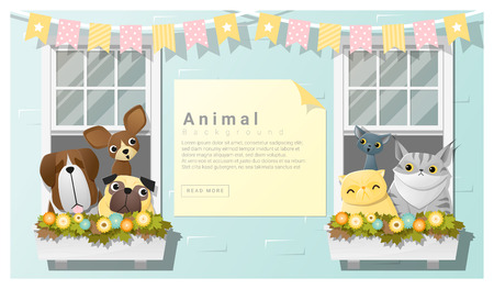 website window: Cute animal family background with Dogs and Cats , vector , illustration