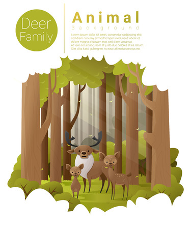 Forest landscape background with deers , vector , illustration