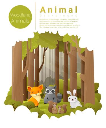 Forest landscape background with woodland animals , vector , illustration Illustration