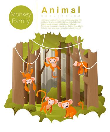 jungle scene: Forest landscape background with Monkeys , vector , illustration