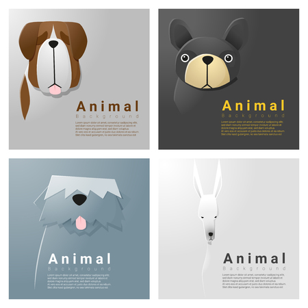 whelps: Animal portrait collection with dogs , vector , illustration
