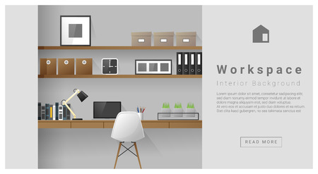 Interior design Modern workspace background , vector, illustration