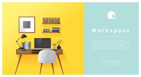 Design d'intérieur espace de travail moderne fond, vecteur, illustration