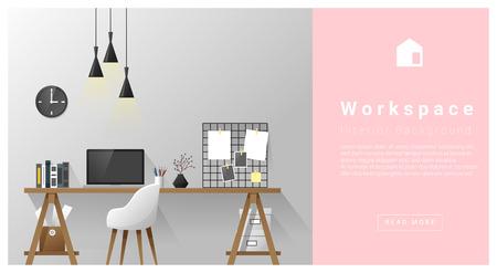 Interior design Modern workspace background , vector, illustration