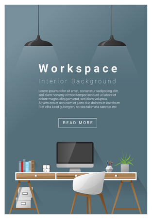 Interior design Modern workspace banner , vector, illustration