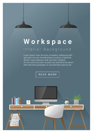 Interior design Modern workspace banner , vector, illustration