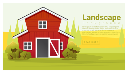 farmhouse: Rural landscape with farmhouse background , vector , illustration