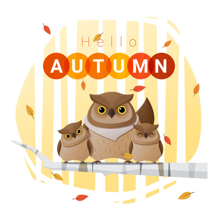 november: Hello autumn background with owl family , vector , illustration
