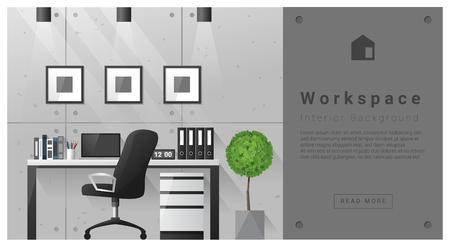 modern interior: Interior design Modern workspace background , vector, illustration