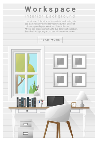 workspace: Interior design Modern workspace banner , vector, illustration
