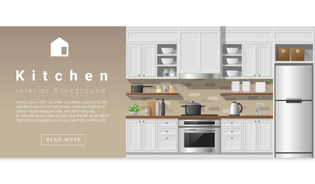 Interior design Modern kitchen background , vector, illustration Vectores