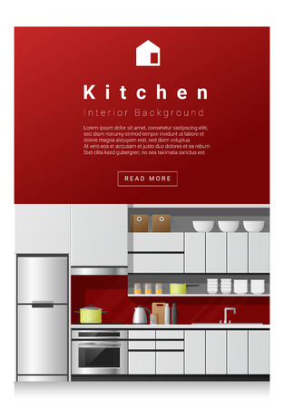 modern interior: Interior design Modern kitchen banner , vector, illustration Illustration