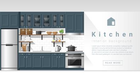 Interior design Modern kitchen background , vector, illustration Vettoriali