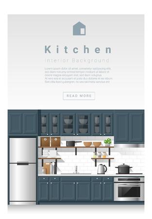 modern kitchen: Interior design Modern kitchen banner , vector, illustration Illustration
