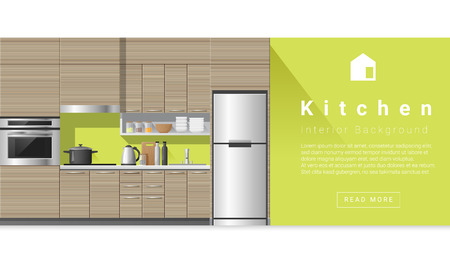 modern kitchen: Interior design Modern kitchen background , vector, illustration Illustration