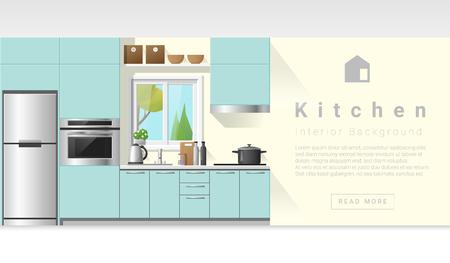 modern interior: Interior design Modern kitchen background , vector, illustration Illustration