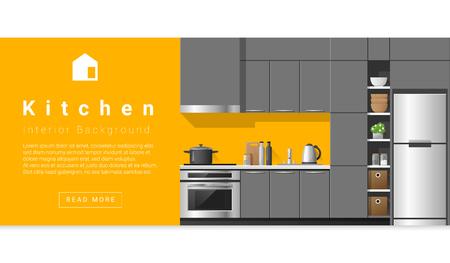 el diseño interior de la cocina moderna de fondo, vector, Ilustración