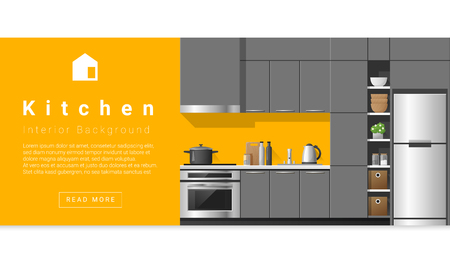 Interior design Modern kitchen background , vector, illustration Ilustrace