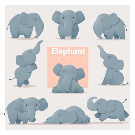Set of Elephant family , vector , illustration Vettoriali