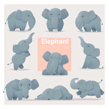 Set of Elephant family , vector , illustration Ilustrace