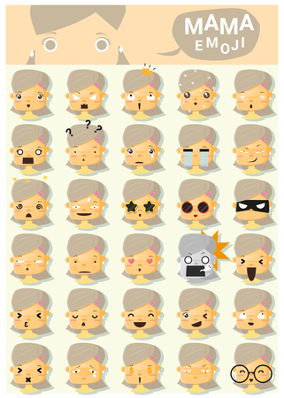mama: Mama emoji icons , vector, illustration