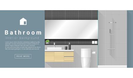 modern interior: Interior design Modern bathroom background , vector, illustration