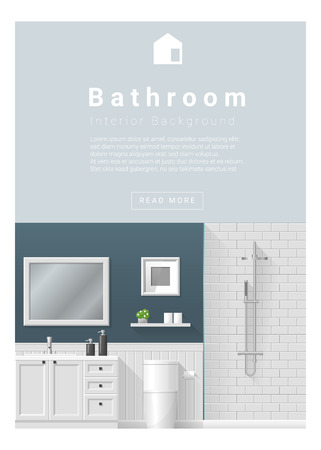 bathroom design: Interior design Modern bathroom banner , vector, illustration Illustration