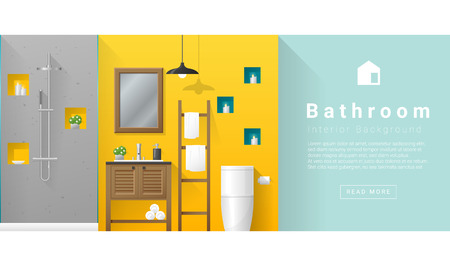 bathroom design: Interior design Modern bathroom background , vector, illustration