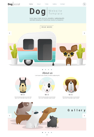 Animal website template  banner and infographic with Dog, vector , illustration
