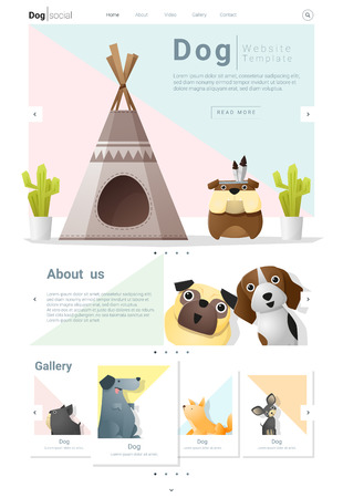 whelps: Animal website template  banner and infographic with Dog, vector , illustration
