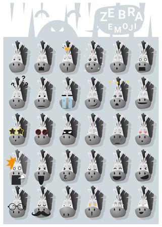 uncomfortable: Zebra emoji icons , vector , illustration