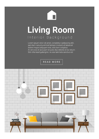 Interior design Modern living room banner , vector, illustration Vettoriali