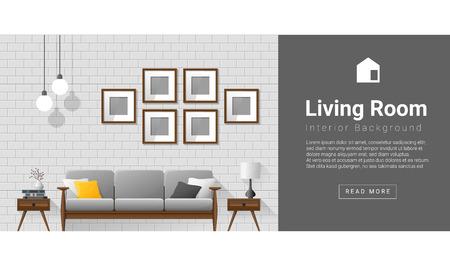 side table: Interior design Modern living room background , vector, illustration