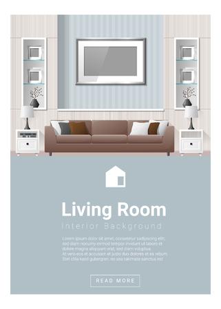 Design d'intérieur moderne salon bannière, vecteur, illustration