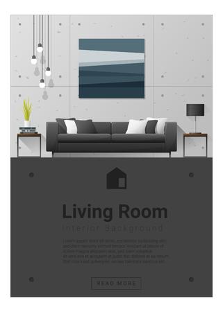 side table: Interior design Modern living room banner , vector, illustration Illustration