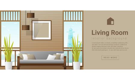 living room design: Interior design Modern living room background , vector, illustration